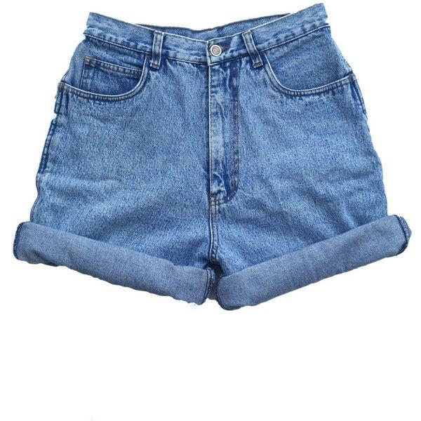 35ffd731af Vintage 90s High Waisted Size 10 Medium Large Shorts Mom Jeans Denim...  ($21) ❤ liked on Polyvore featuring shorts, denim short shorts,  high-waisted shorts ...
