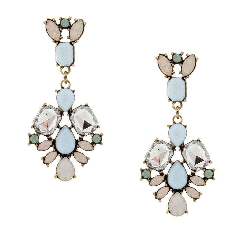 Pale Blue Stone Squares and Teardrops with Opal Crystal Marquis Chandelier Drop Earrings