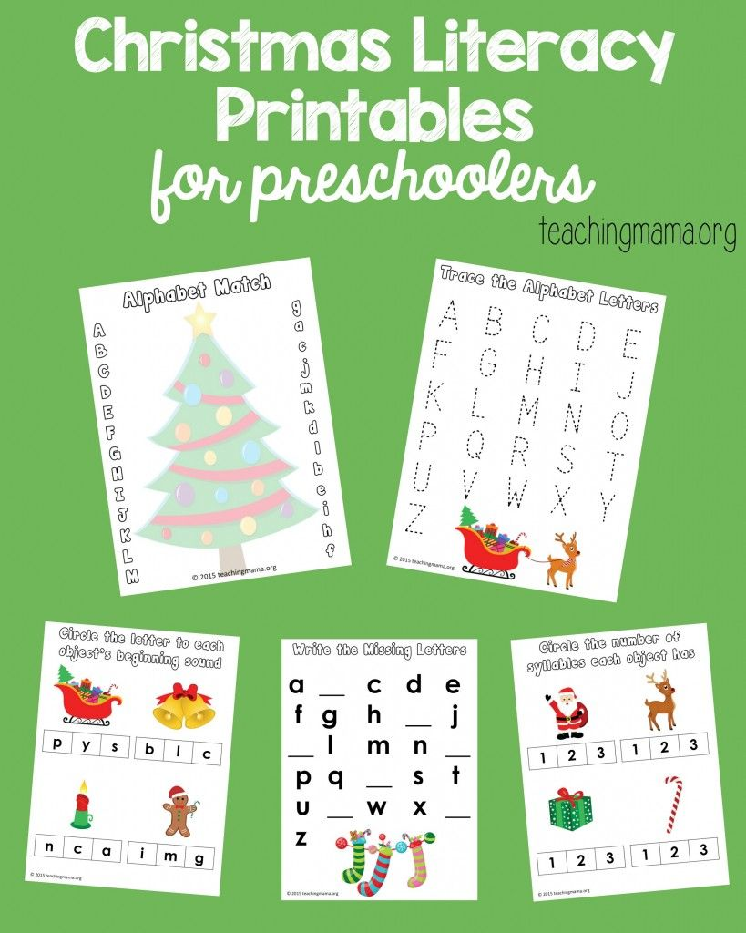 Christmas Literacy Printables for Preschoolers Preschool