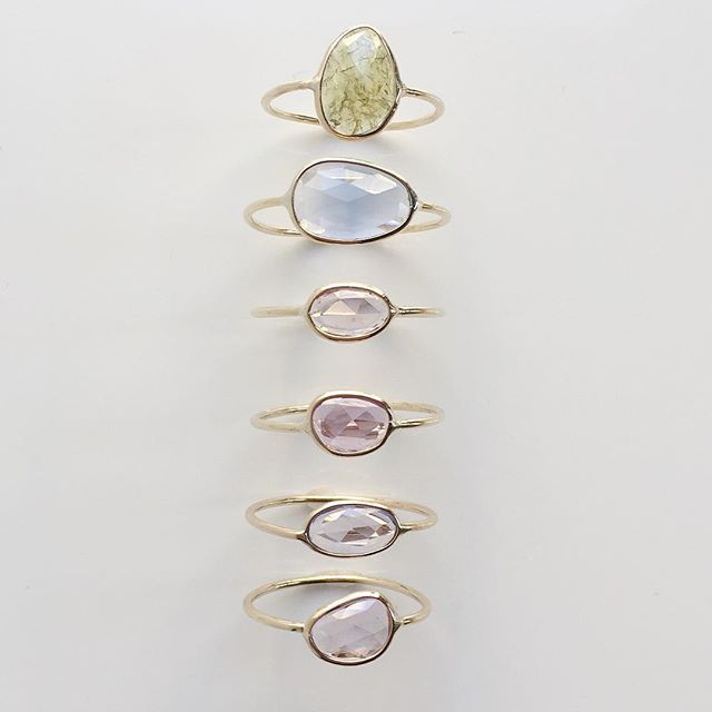 Vale Jewelry Green Garnet and Rose Cut Sapphire Slice Rings