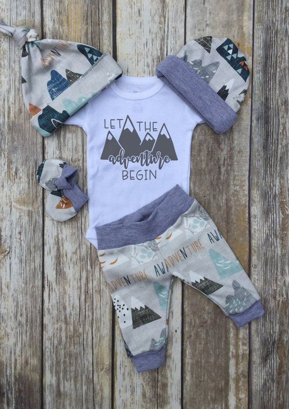 Photo of Boys Coming Home Outfit, Let the Adventure Begin Baby Boy Outfit, Take Home Newborn Outfit, Baby Shower Gift, Boy Layette and Hat Set