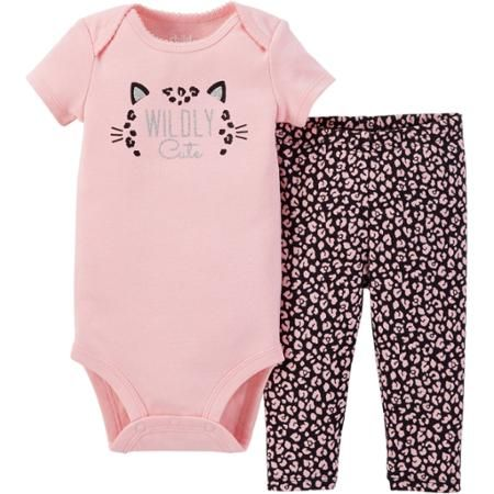 756b716f8 Child of Mine by Carter's Newborn Baby Girl Bodysuit and Pant Outfit Set 2  Pieces - Walmart.com