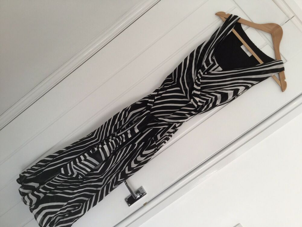 Wallis Petite Black & White Maxi Dress UK Size 8 Geometric