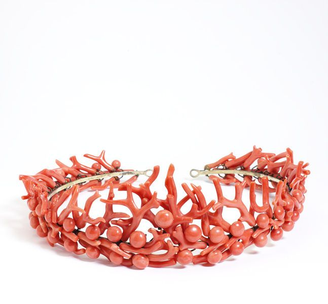 Coral #tiara by the Phillips Brothers, London, England ca. 1860-1870 l Victoria and Albert Museum