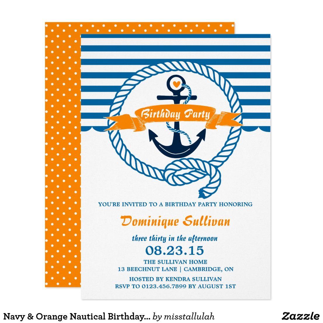 Navy & Orange Nautical Birthday Party Invitation | { Happy Birthday ...