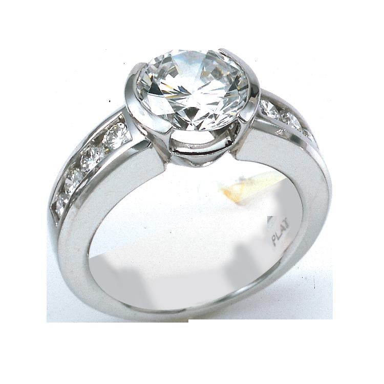 New semi bezel wedding set Engagement Ring With Round Center In Semi Bezel