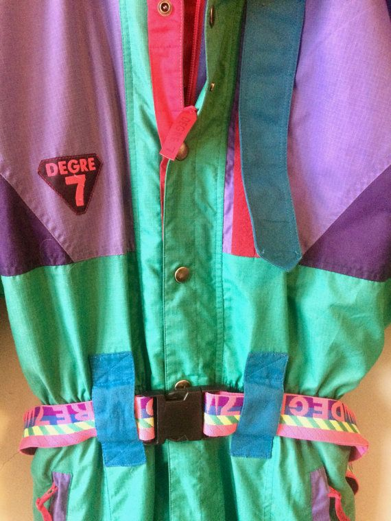 3e022a8a This is an amazing rare Degree 7 vintage ski suit. The suit has a mostly  teal green exterior, with purple, pink, and black portions, and features a  bright ...