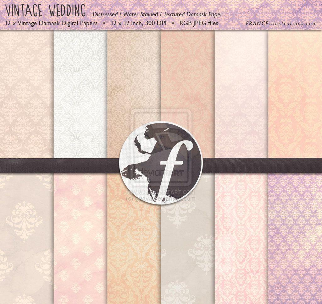 /// Vintage Wedding Damask Paper Pack /// by guava.deviantart.com on @deviantART