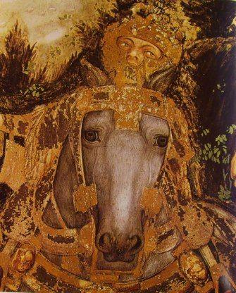 Pisanello - Part. di cavallo e cavaliere
