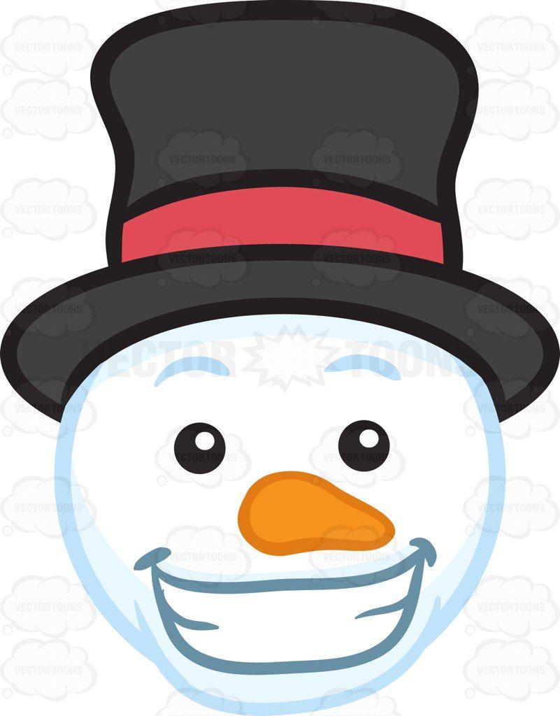 A grinning snowman head #cartoon #clipart #vector #vectortoons #stockimage #stockart #art