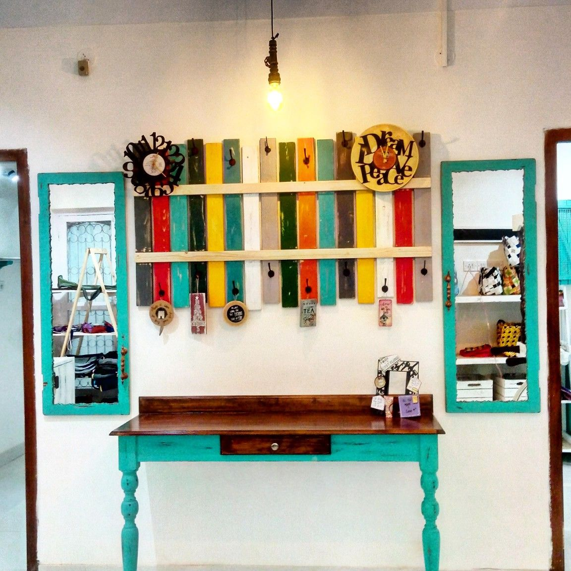 Bohemian feature wall at a store in Bangalore   Feature ...