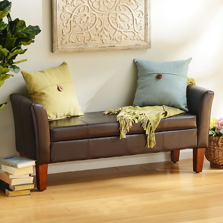 Brown Faux Leather Storage Bench | Upholstered storage ...