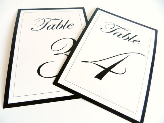 Wedding Table Numbers I Elegant black and white by FunkyBoxStudio ...