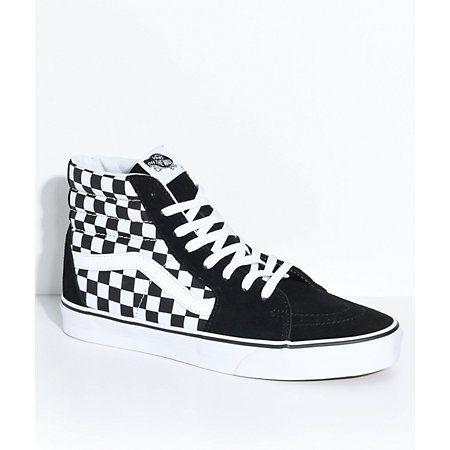 ad4873a276 Vans Sk8-Hi Black   White Skate Shoes in 2019