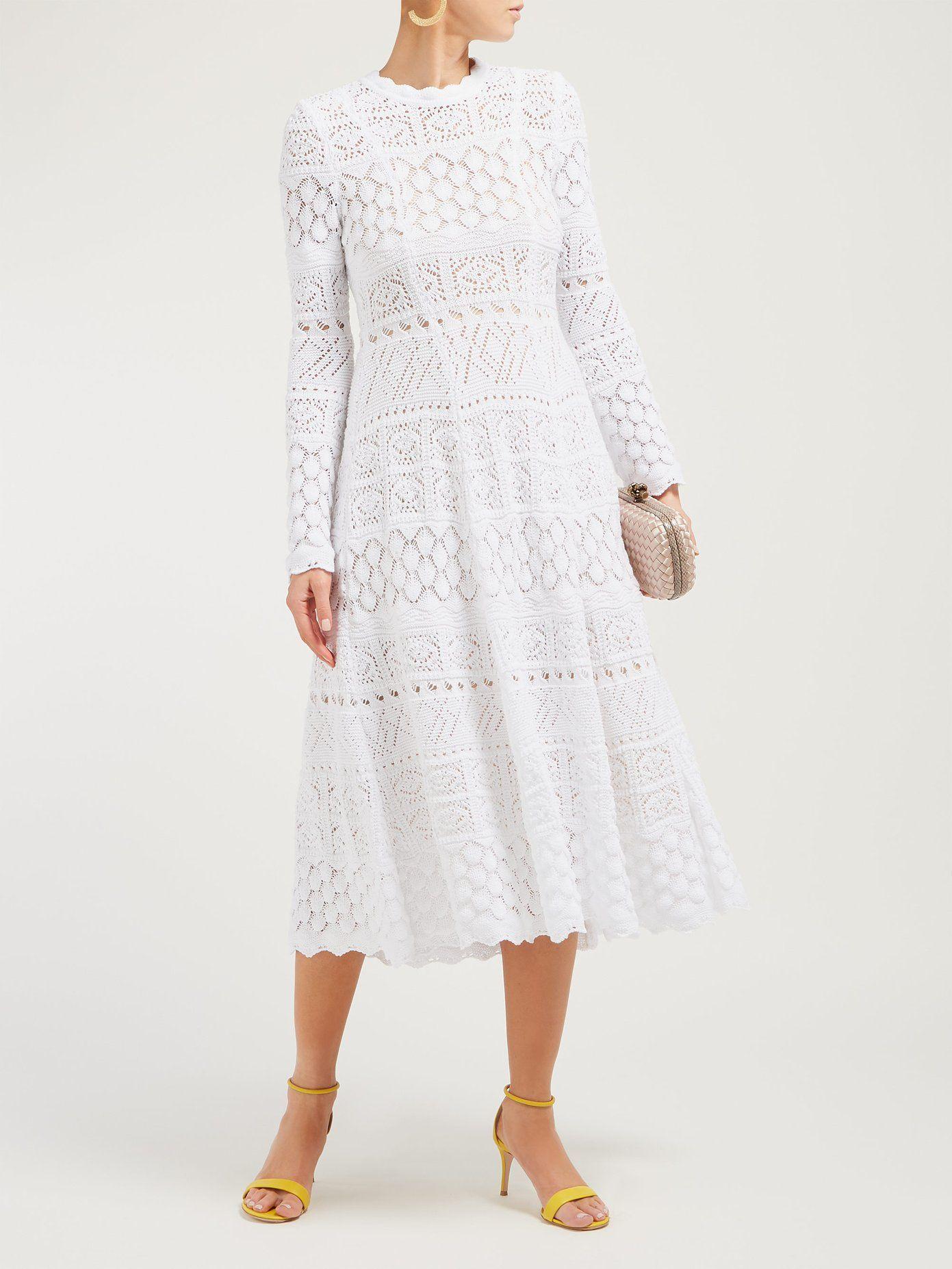 Macramé long sleeved cotton dress | Carolina Herrera