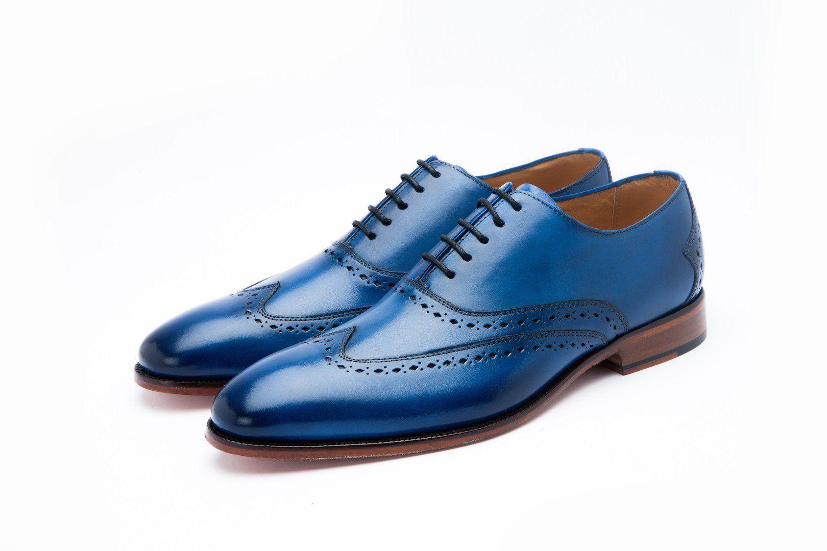 Moustache Store Wingtoe Oxford Blue Mens blue oxford