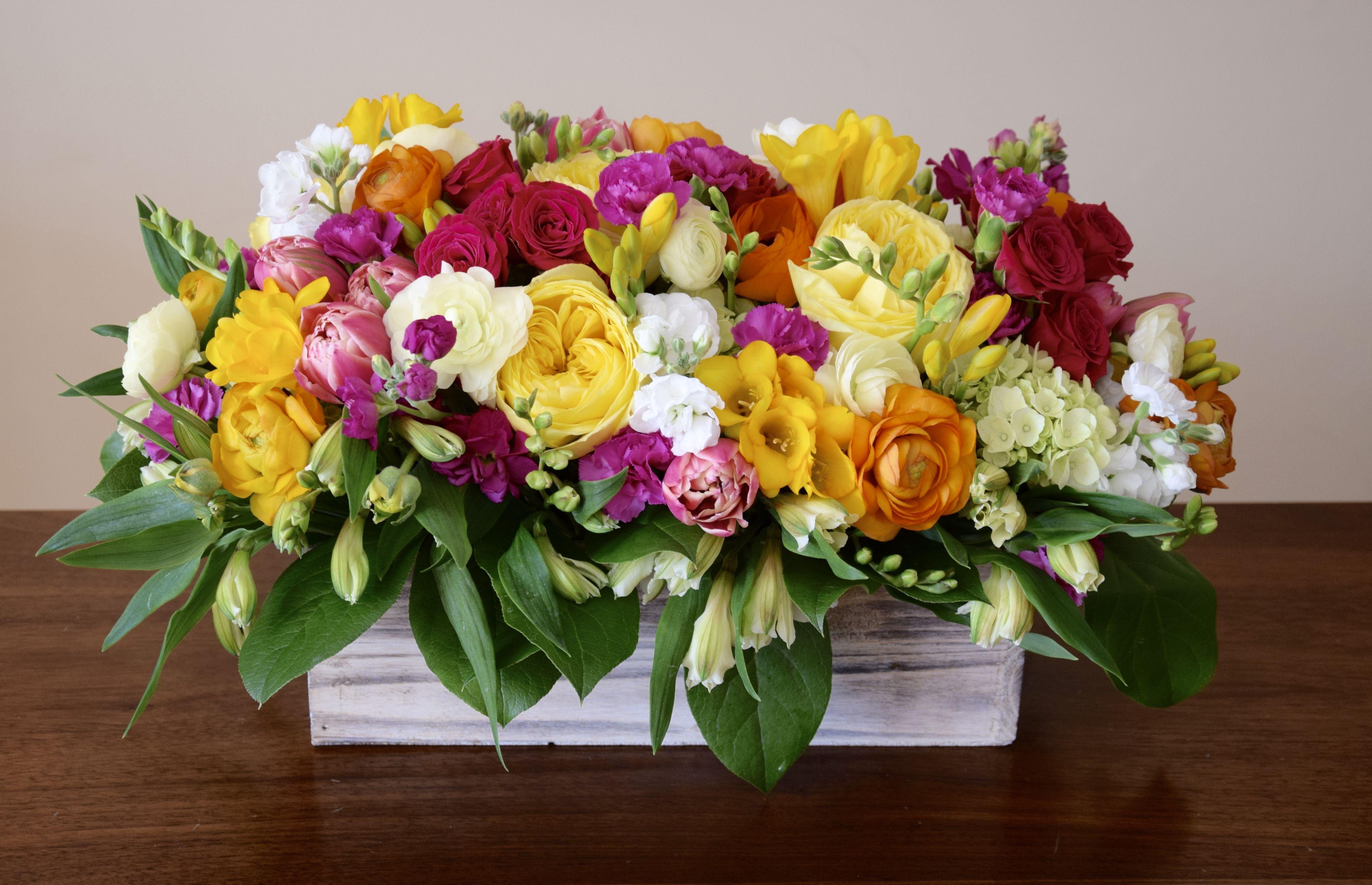 Vibrant Color Spring Garden Flower Arrangement With Lots Of