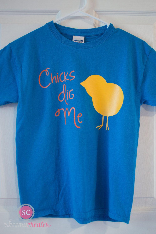 Easter Shirt, Boy Easter Shirt, Chicks Dig Me Shirt, Chick Shirt by SheenaCreates on Etsy