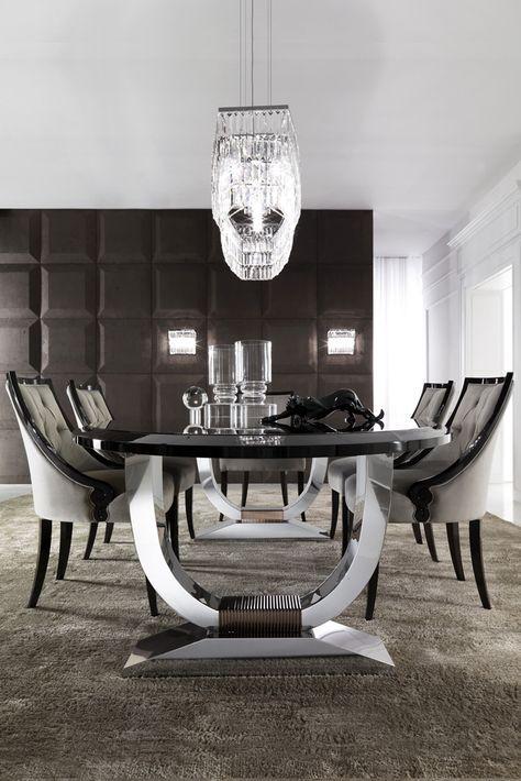 Italian Black Lacquered Chrome Oval Dining Set Luxury Dining Room Black Dining Room Dinning Table Design