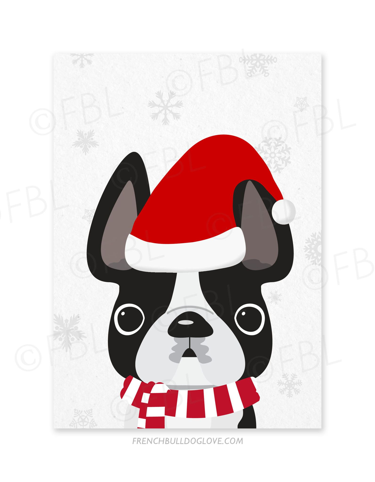 Little Santa French Bulldog Holiday Card | bulldog | Pinterest ...
