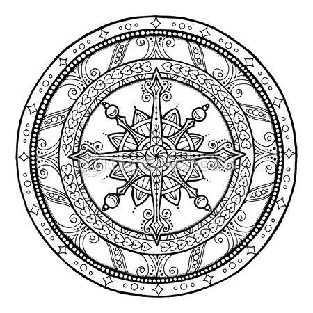 Doodle en étnica mandala de Navidad copo de nieve. — Vector de stock ...