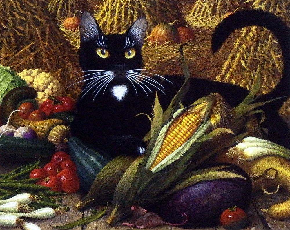 "The black cat in Charles Wysocki's print Montana De Oro is guarding the fall harvest vegetable stand. This is the companion print to Monty Minding the Store. ""In this enchanting image we meet Montana"