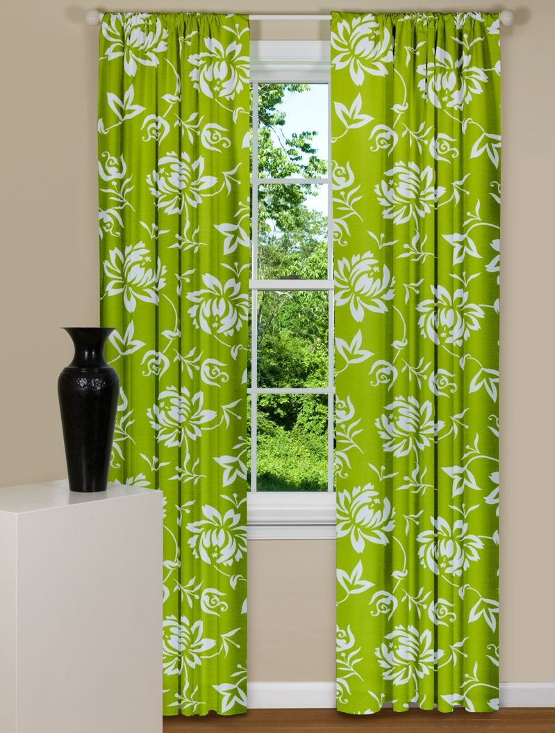 Modern Floral Green Curtain Panel For The Home Green Curtains