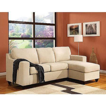 Vogue Microfiber Reversible Chaise Sectional Sofa, Multiple Colors ...