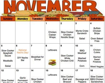 November 2018 Monthly and Weekly Meal Plan w/Groce