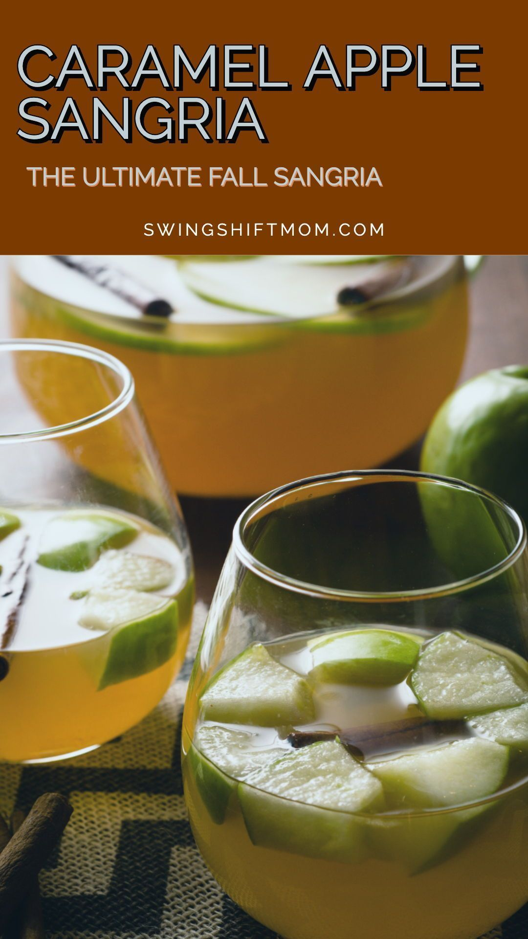 This caramel apple sangria recipe combines rich apple cider, white wine, and caramel vodka into a fall sangria that is perfect for Halloween, Thanksgiving and fall parties. A simple autumn sangria that is packed full of apple and caramel flavors. #sangria #cocktails #sangriarecipes #applecidersangriarecipe This caramel apple sangria recipe combines rich apple cider, white wine, and caramel vodka into a fall sangria that is perfect for Halloween, Thanksgiving and fall parties. A simple autumn san #applecidersangriarecipe