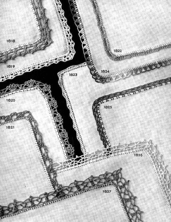 Crochet Handkerchief Edging patterns Nos. 1818 to 1827 originally ...