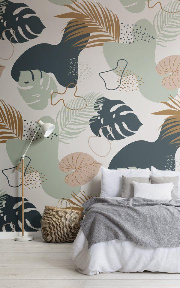 Green Tropical Leaf Pattern Wallpaper Mural | Hovi