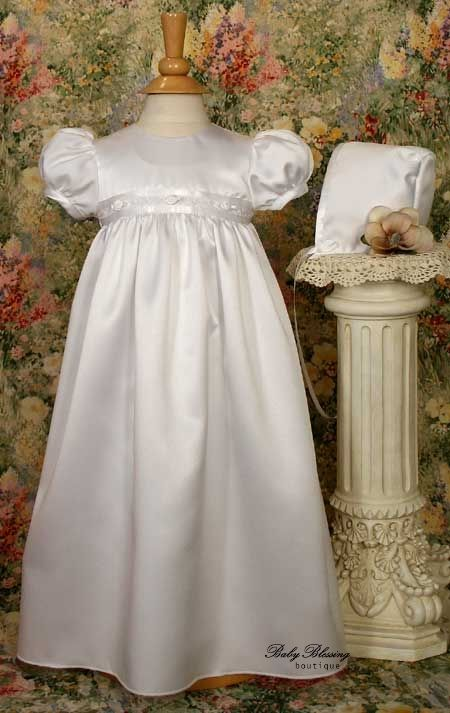 Little Things Mean A Lot Baby Girl White Sateen Rosette Chistening Baptism Dress