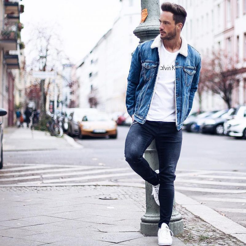 50 Stylish Ways To Wear A Shearling Coat Fashion Tips For Men Images Blue Denim Jacket Outfit Jeans Outfit Men Blue Jeans Outfit Men
