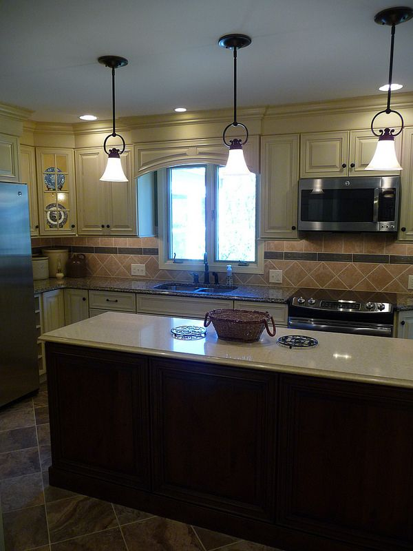 Kitchen Remodel, Long Island, Tile Back Splash, Linear Tile Accent On Back  Splash