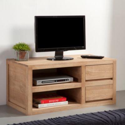 meuble tv 90cm 2 etageres 2 tiroirs