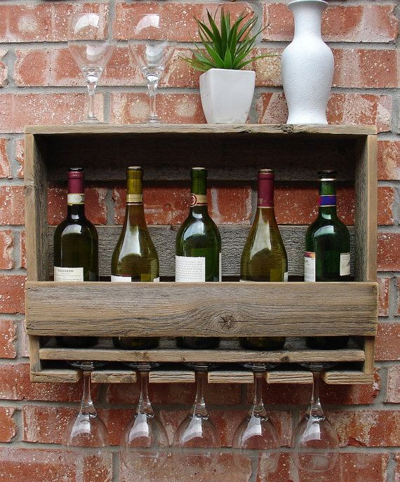 Rustic Reclaimed Wood Wine Rack with Glass Holder and by KeoDecor, $65.00