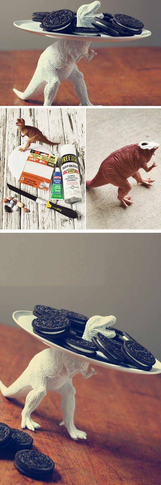 Dicas para renovar potes e pratos com bichinhos de plástico #dinosaurart