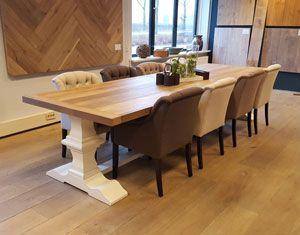 Gerookt Eiken Tafel : Kloostertafel met een klassieke witte poot deze tafel heeft ook