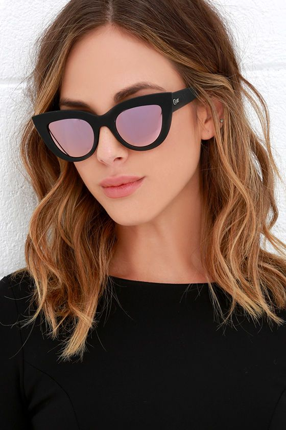 9d281a477ace47 Channel your inner Jackie O. with the Quay Kitti Black and Pink Mirrored  Cat Eye Sunglasses