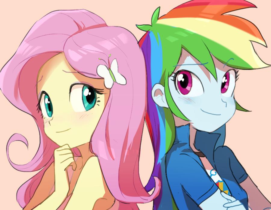 Rainbow dash and fluttershy human anime