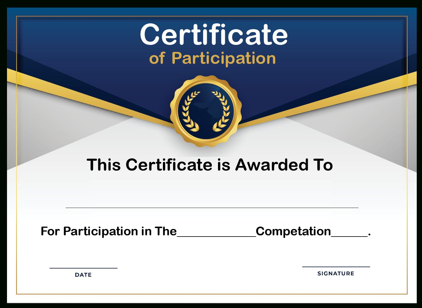 Free Sample Format Of Certificate Of Participation Template With Sample Certificate Of Participation Template Free Printable Certificates Certificate Templates
