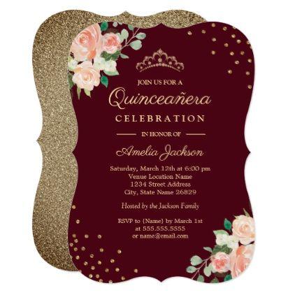 Burgundy Peach Gold Floral Confetti Quinceanera Invitation Various