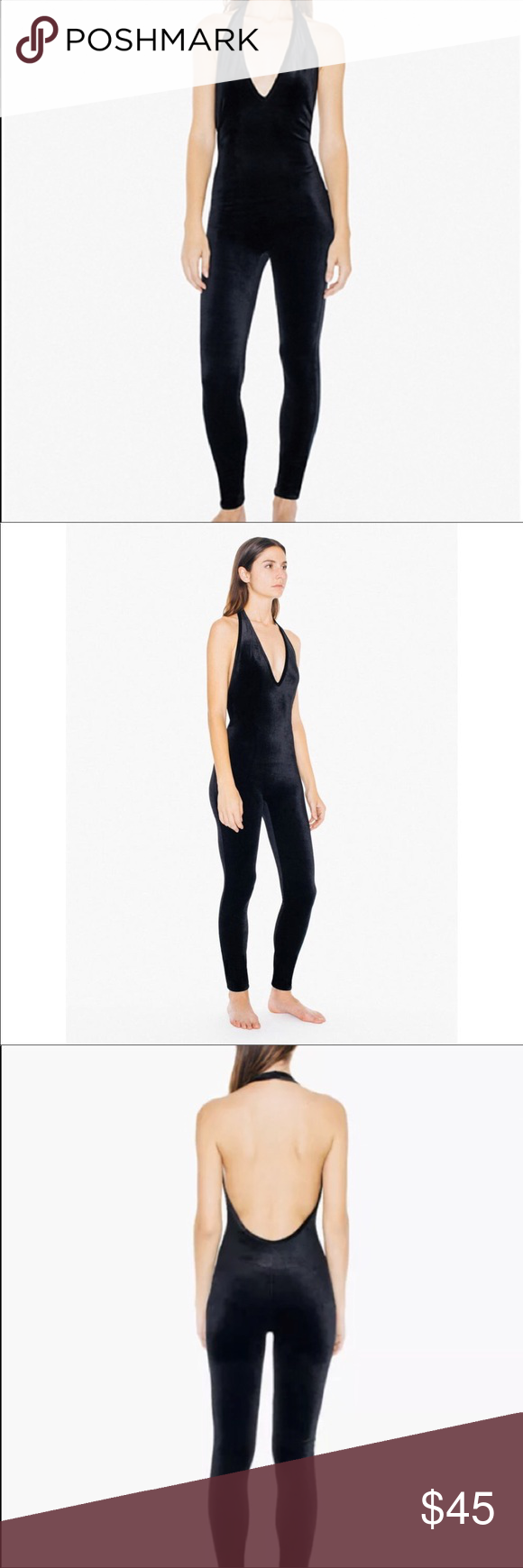 fbce9639908f American apparel velvet halter catsuit NWT Black American apparel velvet  halter catsuit 90% polyester 10% elastase American Apparel Pants Jumpsuits    ...