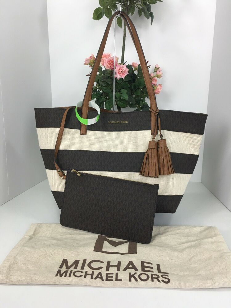 Michael Kors Large Striped East West Tote Bag Brown Logo Leather B2y Michaelkors Totesshoppers