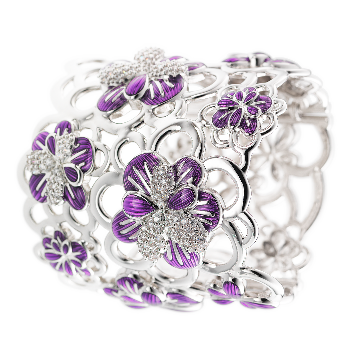 CIRO Jewelry Traviata white gold arm cuff. Interlacing floral design cuff. White CIROLIT stones. Lilac enamel. Secure clip closing. White gold plated.