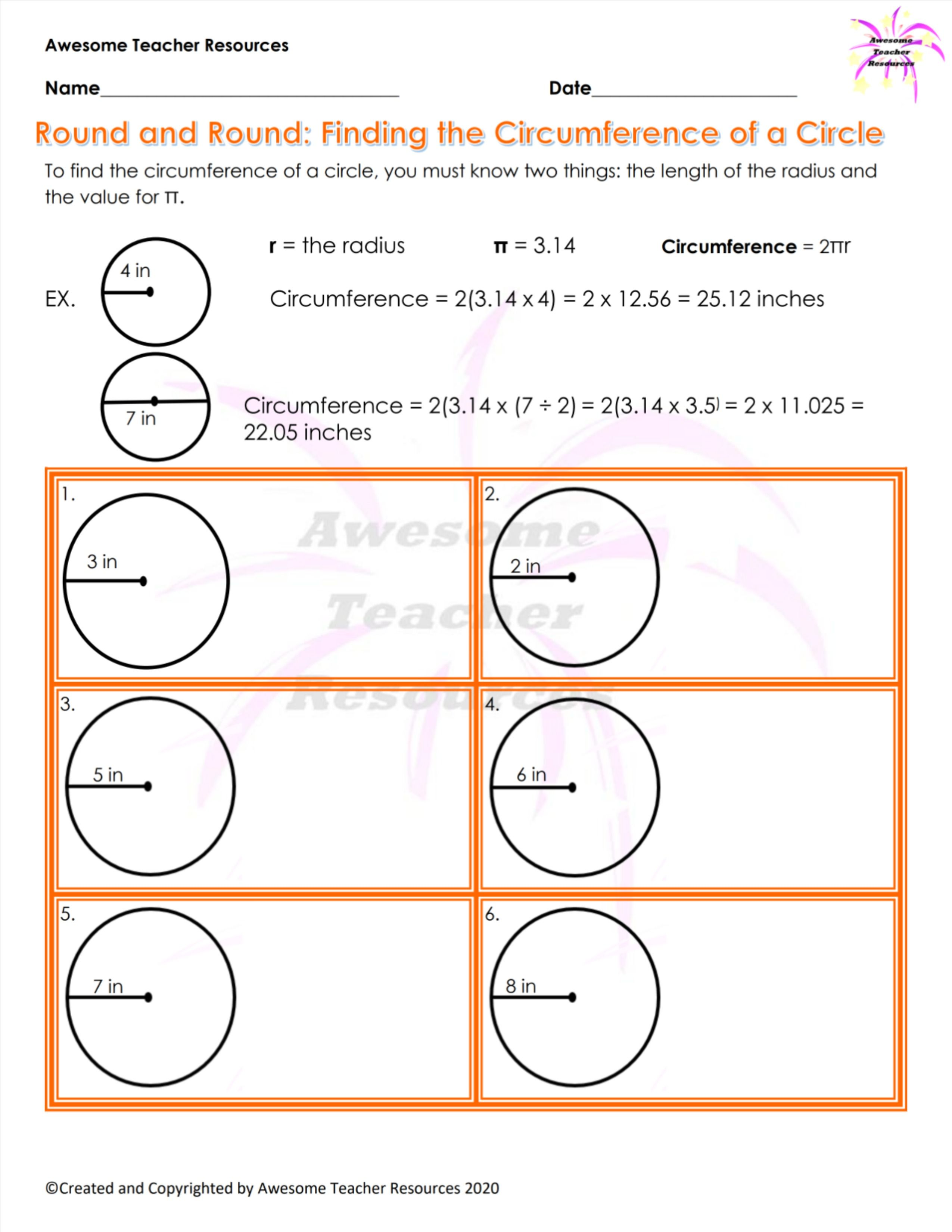 Round and Round: Finding the Circumference of a Circle Worksheet   Area of  a circle [ 3300 x 2550 Pixel ]