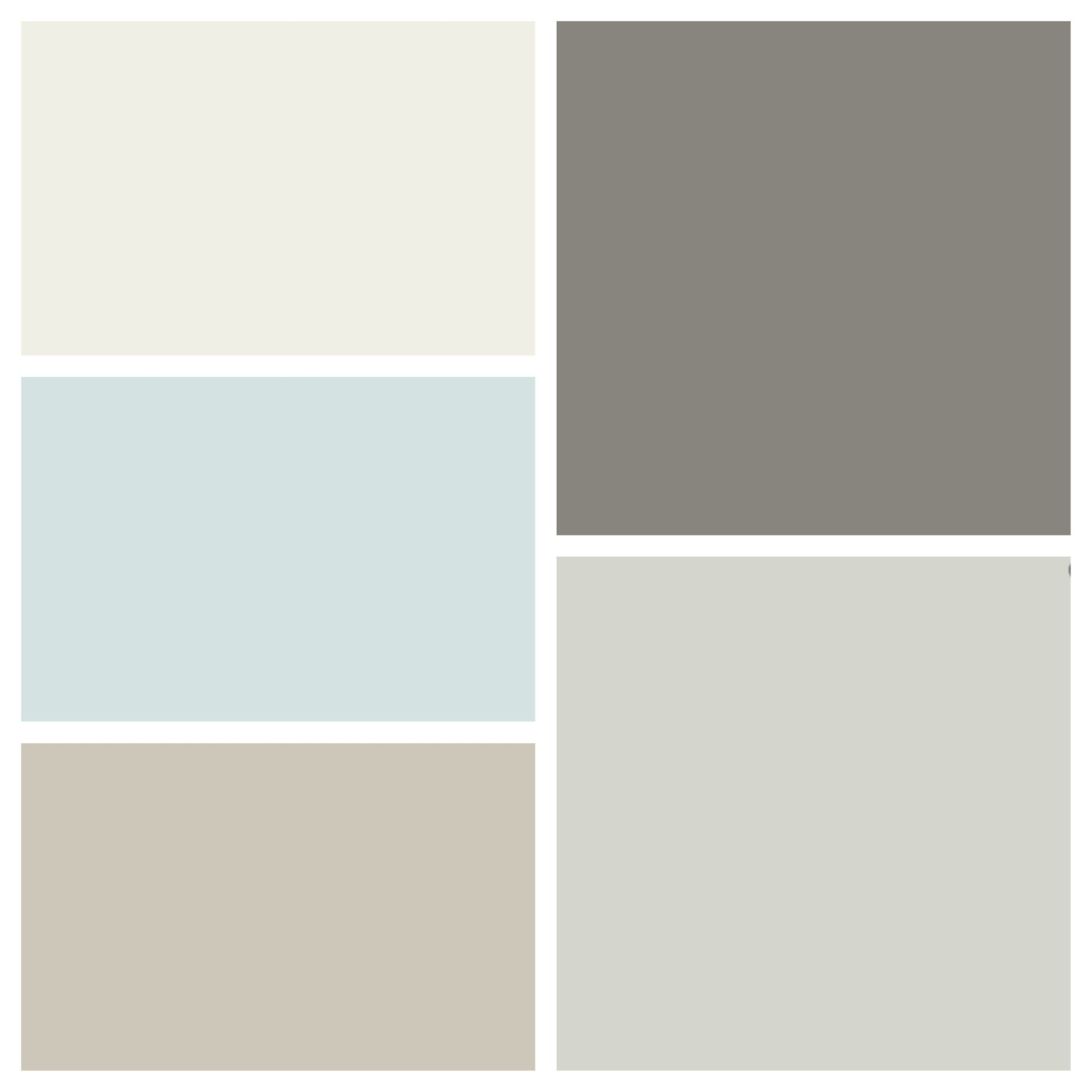 New House Color Scheme Clockwise From Top Left Benjamin Moore White Dove Chelsea Gray Owl Revere Pewter Ocean Air
