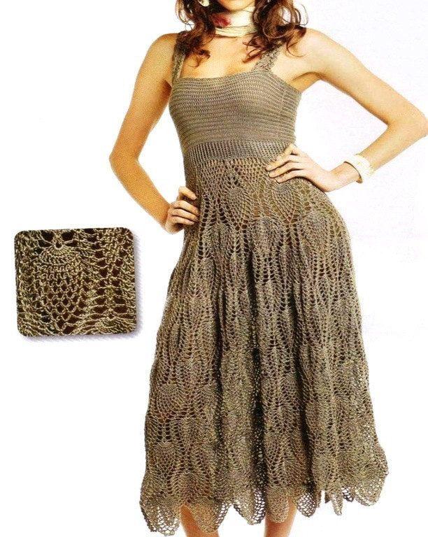vestido con falda amplia tejido en crochet. por ruecavellon en Etsy