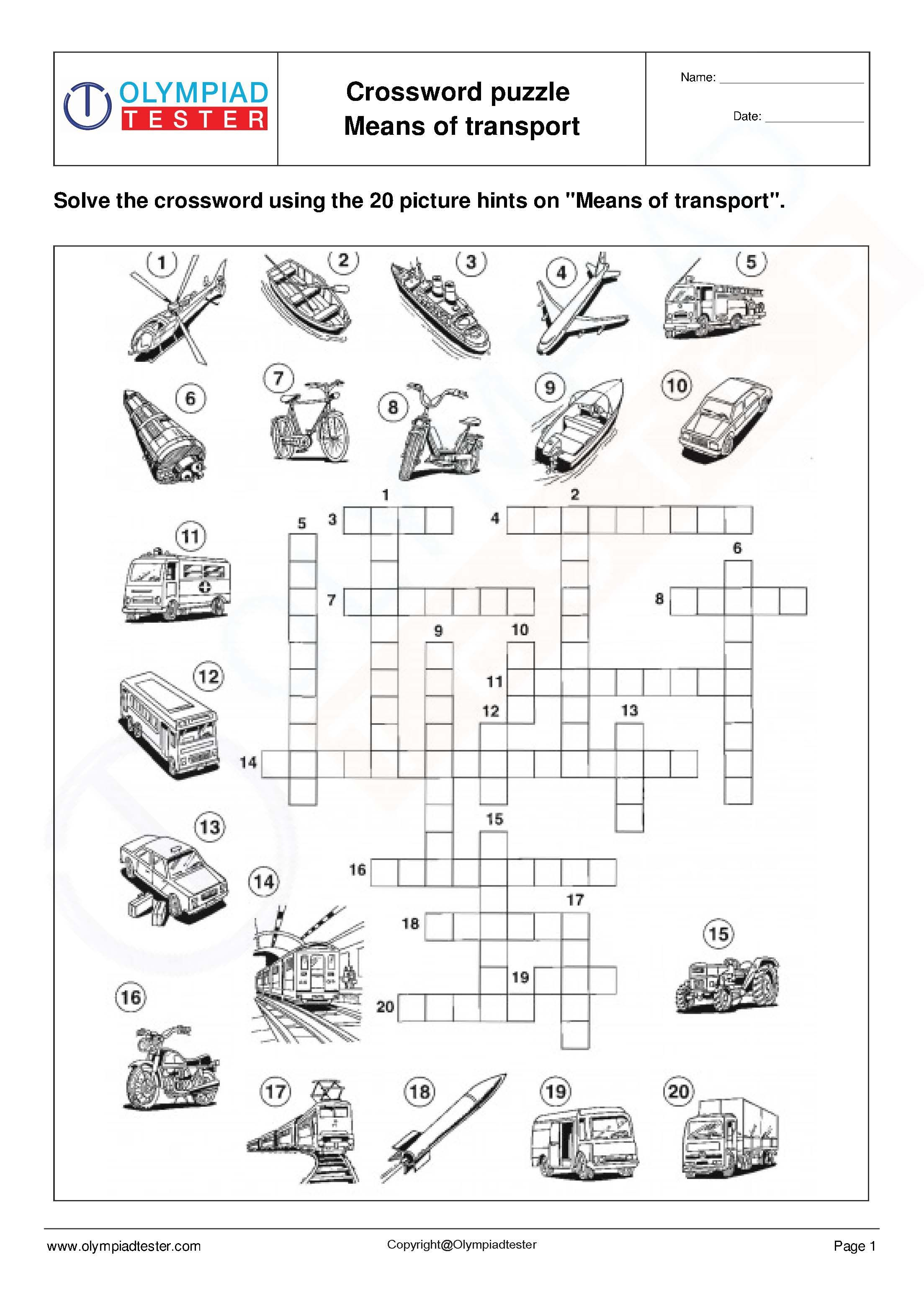 Science Crosswords Means of transport. Download this